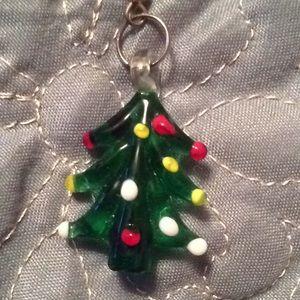 Glass Christmas tree charm